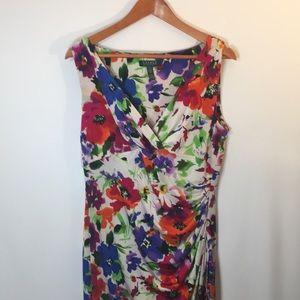 Ralph Lauren Floral Midi Dress V Neck Size 14